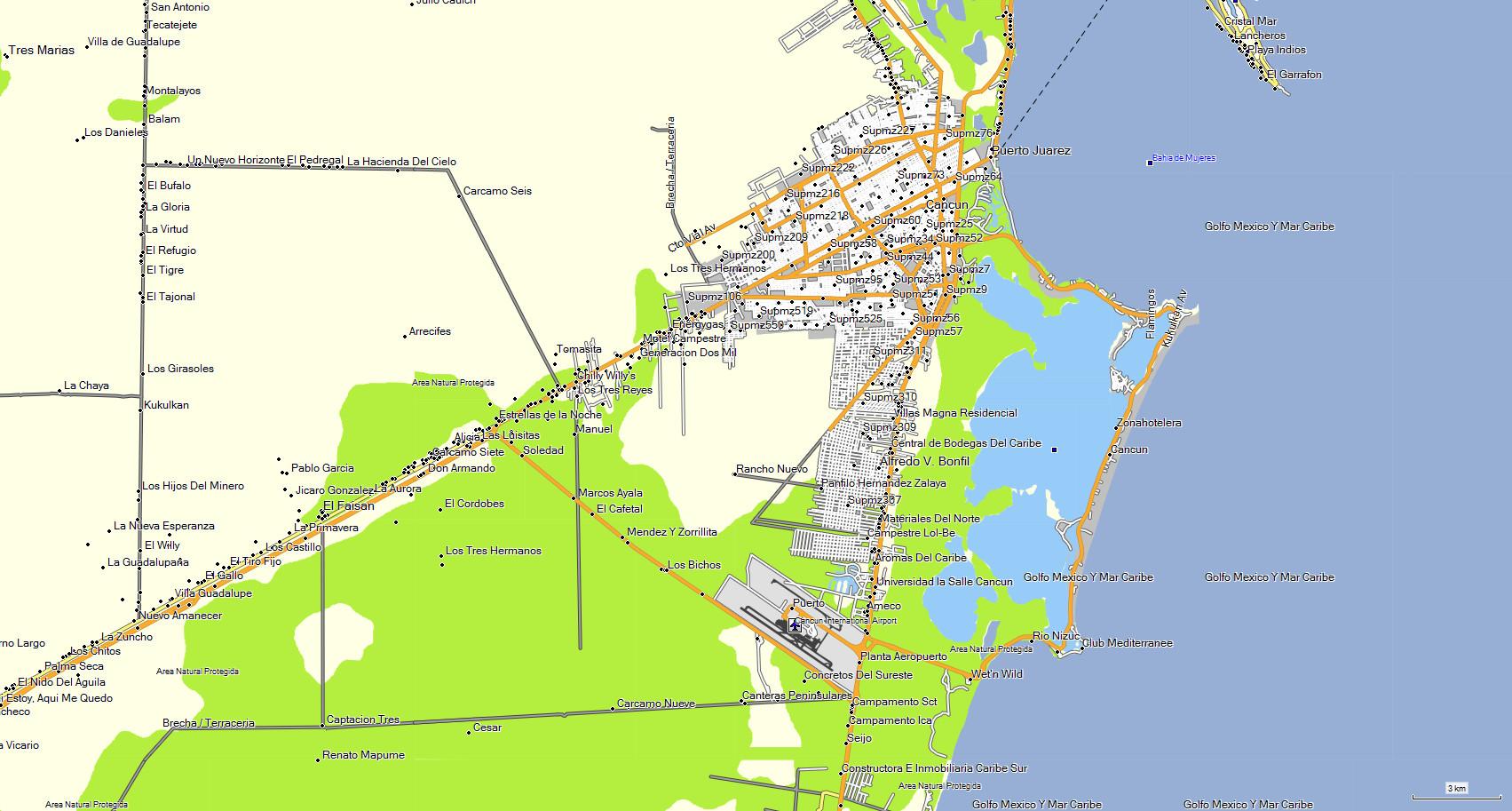 Mapa de la franja del hotel Cancu