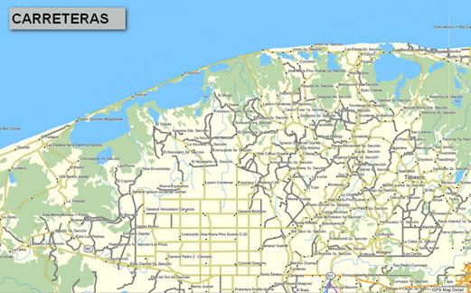 Mapa topogrfico de Tabasco Mxico para GPS Garmin
